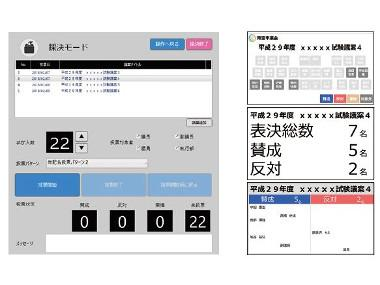 有線・赤外線統合会議システムの投票結果画面。