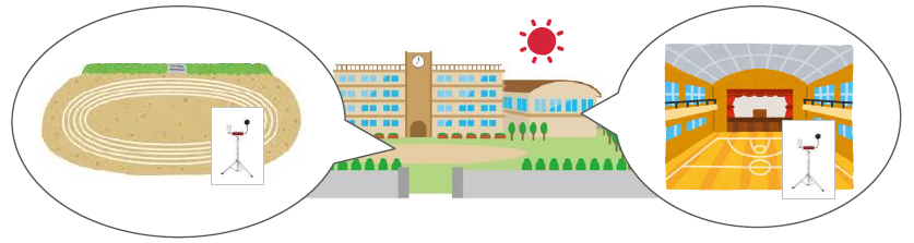 学校の様々な場所のイラスト