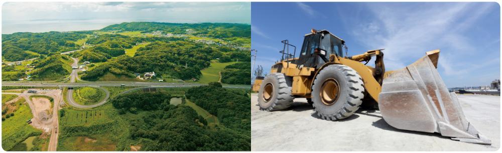 建設現場イメージ(山の中の写真、トラック写真)