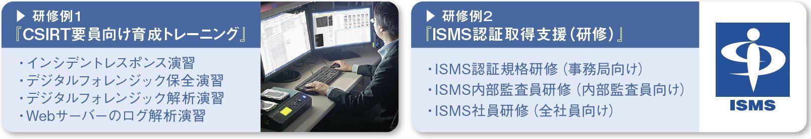 研修例1「CSIRT要員向け育成トレーニング」、研修例2「ISMS認証取得支援(研修)」