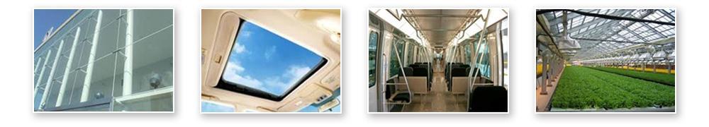 SQPVガラスの適用のイメージ(オフィスビルの壁面(ガラス)として適用、自動車の天井に適用、電車の窓や扉に適用、農作物のハウスに適用などのイメージ)