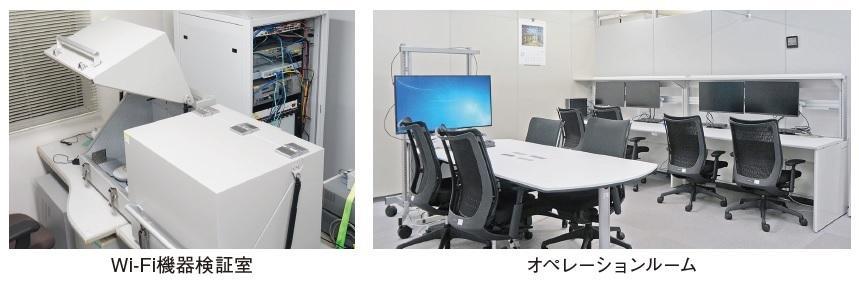 Wi-Fi機器検証室とオペレーションルームの写真