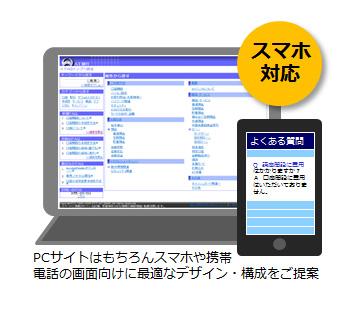 クラウド対応FAQシステム『MatchWeb』は、PCサイトはもちろんスマホや携帯電話の画面向けに最適なデザイン・構成をご提案します。