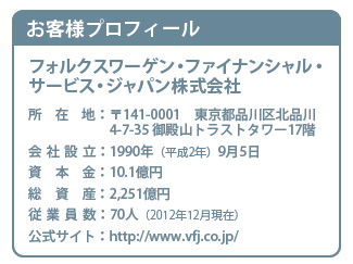 お客様プロフィール フォルクスワーゲン・ファイナンシャル・サービス・ジャパン株式会社
