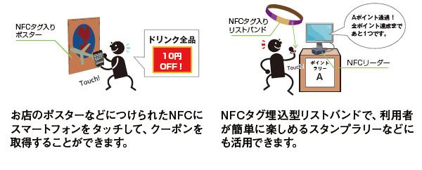 ・お店のポスターなどにつけられたNFCにスマートフォンをタッチして、クーポンを取得することができます。・NFCタグ埋込型リストバンドで、利用者が簡単に楽しめるスタンプラリーなどにも活用できます。